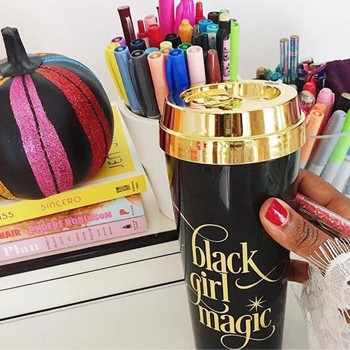 BlackOwnedBusiness EFFIE'S PAPER Black Girl Magic Gold Lid Travel Mug