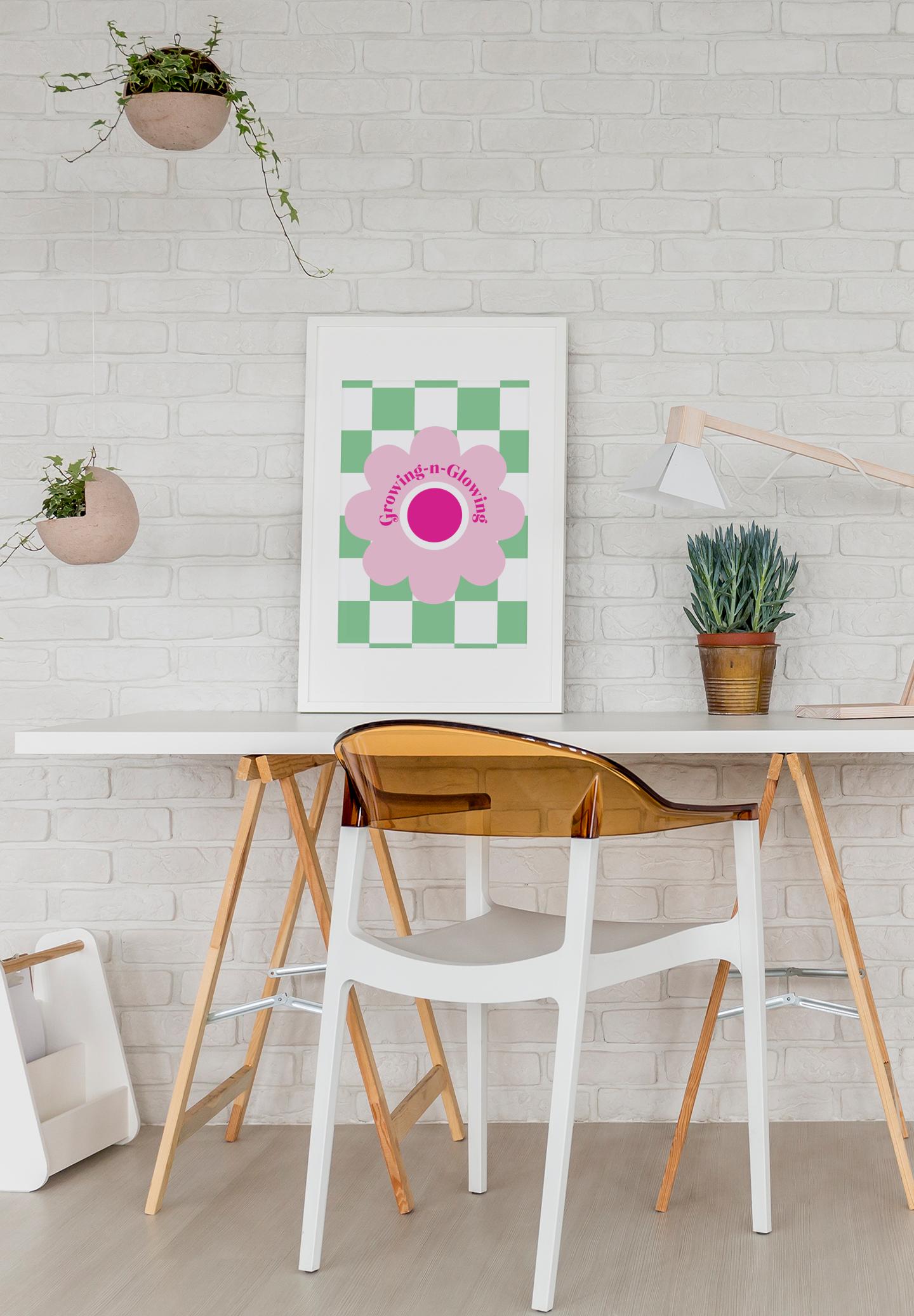 Art Print Mockup Featuring A Minimalist Desk  R El